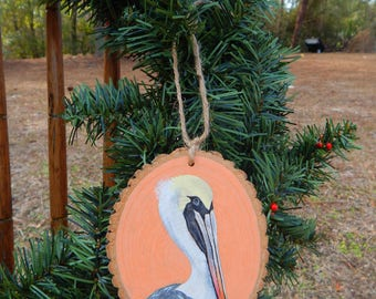 Pelican Hand painted wood slice ornament