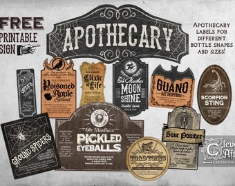 Apothecary Labels Witch's Apothecary Vintage Bottle Label Halloween printable labels assorted antique collage sheet potions, poison sign