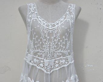 Lace and Embellished white or black sleeveless Tank