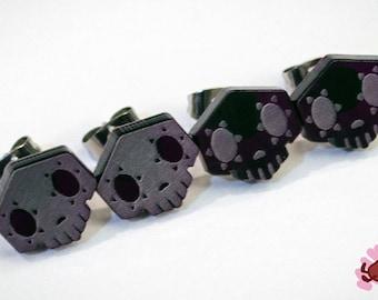 Overwatch Sombra Stud Earrings, Skull EMP Symbol (purple transparent acrylic, laser-cut)