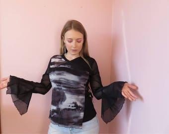 90s Goth Avante Garde Murky Mesh Long Sleeve Top / Black Abstract Printed Asymmetrical Wrap Style Sheer Tee Size 12