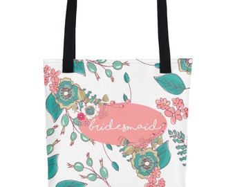 Bridesmaids Tote Bag   Tote Bags For Bridesmaids   Bridesmaid Totes   Bridesmaid Tote Gift   Floral Wedding Tote   Floral Wedding Bag