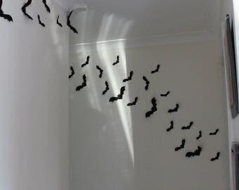 Halloween Paper Bats , Pk of 20, 3D, Black Bats, Halloween Decoration, Flying Black Bats, Halloween Wall Decor, Fold Up Wings, Wall Bats