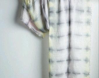 Exclusive Cotton Gauze Artistic Shibori Shawl, 78cm x 192cm,  Handmade