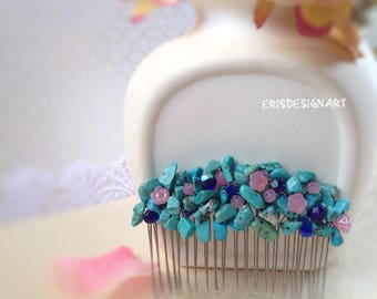 Blue Wedding hair comb Blue Wedding Hair Accessories Blue hair piece Blue Bridal Hair Comb Wedding headpiece Sky blue comb Turquoise comb