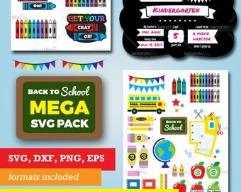 Back to School SVG Files bundle: Teacher Gift, First Day of School Chalkboard Sign, DXF Silhouette Cameo Cricut Explore Cut Files, Education