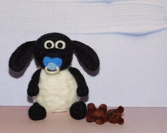 Needle Felted Timmy (Shaun the sheep) OOAK Lamb.