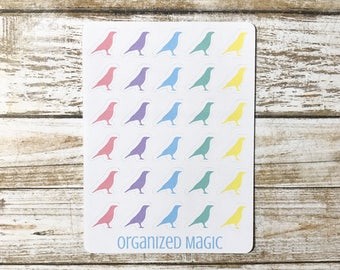 rainbow crow planner stickers, crow planner stickers, bird planner stickers, bird stickers