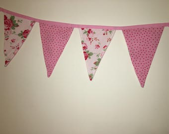 "Handmade double sided bunting 6' 5"" including ties Free Shipping"