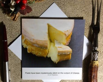 Cheese funny card - food photography card - birthday card for food lover - literary quotation card