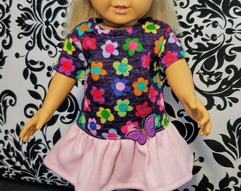 18 Inch Doll Clothes-Dress and Messy Bun/Ponytail Set with Butterfly