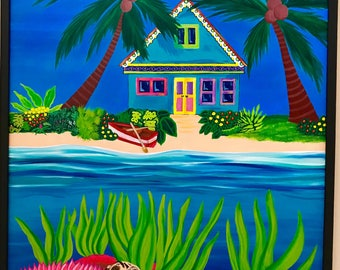 Caribbean Dream, Original Acrylic Painting On Canvas. Caribbean house. Sea turtle. Beach. Sea Star. Whimsical painting. Canvas art.