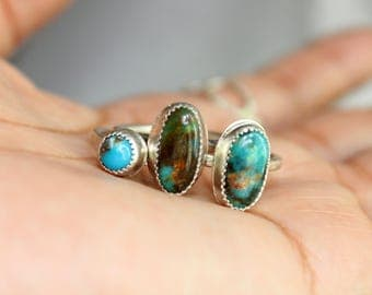 Rare Turquoise Mountain Sterling Silver Stacker Ring | December Birthstone | Arizona Mine | Women's Minimalist Boho | Gugma Jewelry