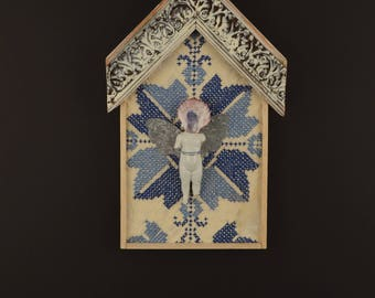 Blue Star House:  mixed media collage, assemblage art, recycled upcycled salvaged art, feminine art by Leslee Lukosh of Foundturtle