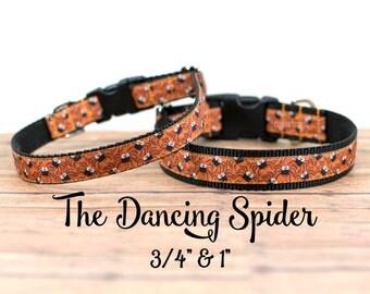 """Halloween Spider Collar, Spider Dog Collar, Halloween Dog Collar, Buckle Collar, Martingale, 3/4 or 1"""" Wide"""