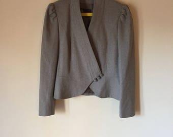 Gray Wool Blazer | light gray puff sleeve fold over deep v womens feminine cut office professional preppy pure wool blazer jacket coat small