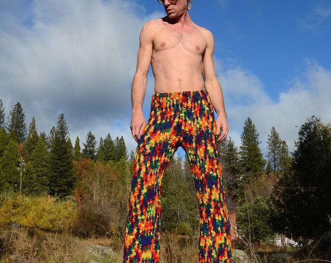 Crochet Pants Rainbow Disco Bellbottom Wool XL
