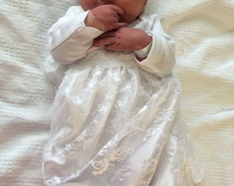 White Lace Layette gown newborn girl coming home outfit