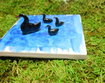 Swans-Black Swans-Set of Swans-Mother with 3 young-OOAK-Polymer Clay Black Swans