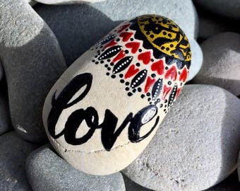I'm with the love tribe/ painted rocks/ painted stones/ rock art / hippie art/ boho / boho style / paperweights / anniversary/ valentines
