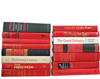 Red Foot of Books, Black Decorative books, White Books Collection, Old Book Decor, Book Stack, Instant Library, Book Bundle, Book Set,