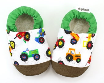 tractor baby shoes, farm baby soft sole shoes, baby boy shoes, tractor booties baby mocks, tractor slippers, toddler shoes, tractor clothing