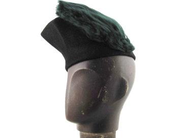 Womens Hat Black Velour Fur Felt Hat Handmade Hat Veil Net Braid Church Cloche Derby Ascot Races Fedora Art Deco Custom Made for Each Client