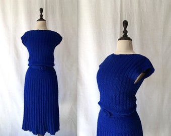 1940s blue wool bouclé dress