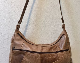 Brown Sepia Tones Patchwork Leather / Hobo bag / Shoulder Bag / Cross Body Bag, made in Mexico