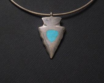 Vintage Turquoise ARROW Pendant Sand-Cast Solid STERLING Arrowhead Necklace Sterling Silver OMEGA Chain, Womens Southwestern Jewelry