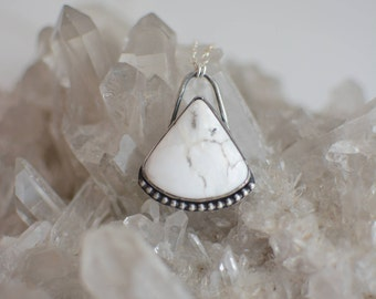 White Buffalo Turquoise Necklace // Triangle Sterling Silver Pendant // Natural Gemstone