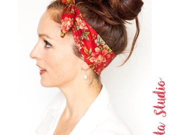Red Headband with Flower Prints - Flower Headband Flowers Dolly Bow Headband Gift for her Pinup Bandana Retro Women's Hair Accessories