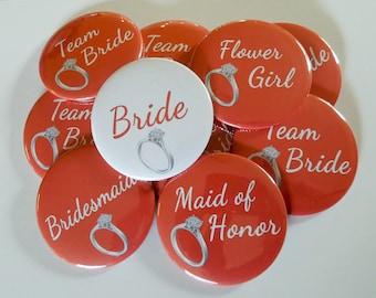 "2.25"" Red Diamond Ring Bachelorette Party Buttons"