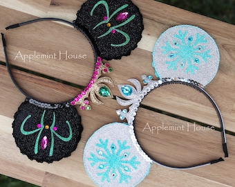 Elsa Minnie Ears,Elsa Minnie Mouse Headband,Anna Minnie Ears,Princess Minnie Ears ,Frozen theme Minnie mouse headband,Elsa Mickey Ears