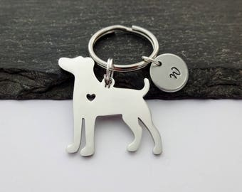 Dog Keyring, Initial Keyring, Hand Stamped Keyring, Pet Keyring, Charm Keyring, Dog Keychain, Dog Gifts, Dog Gift, Pet Keychain, Animal