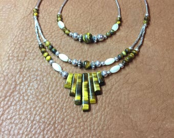 Tiger Eye & Liquid Silver Necklace and Bracelet