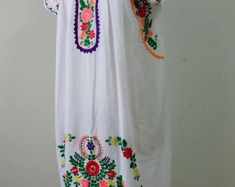 Mexican Embroidered Dress, Short Dress with Hand Embroidery, Oaxacan Dress