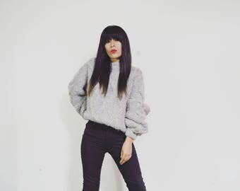 Cozy sweater gray hand-woven with alpaca wool | Oversize - Hand-knitted sweater with natural fiber | Renewable Alpaca Sweater