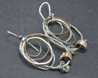 Raw Silver, Hoop Earrings, Mixed Metal, Sterling Hoop, Statement Earrings, Pinned, Silversmith