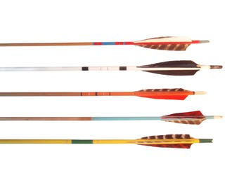 Vintage Wood Arrows. Wooden Arrows. Painted Decorative Arrows. Archery Arrows. Set of 5. Retro Graphics MCM. Feather Arrows. Boho Decor