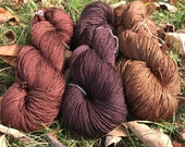 100% Mulberry Silk Lace & Sport Yarn Hand dyed Browns (Cone or Hank)