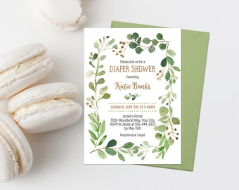 Greenery Diaper Shower Invitation Printable Green Foliage Baby Shower Invite Woodland Baby Shower Invite Greenery Wreath Baby Shower 276