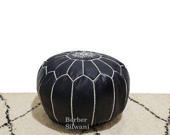 Pair (2) Black/White Moroccan Leather Pouf, Moroccan Pouf Ottoman Footstool Poof Poufs