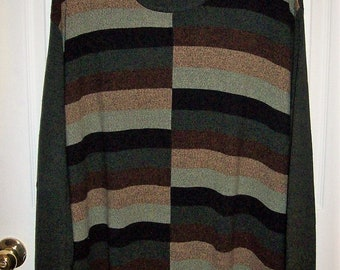 Vintage Mens Multi Color Crew Neck Pullover Sweater by Dockers 3X Only 10 USD