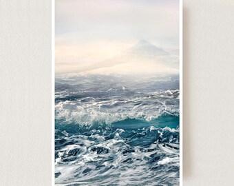 Coastal wall art Large seascape art Sea waves Large Landscape print Blue room mens Ocean waves print Nautical decor 30x40 16x20 18x24 poster