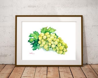 Grape Cluster Fruit of the Vine Art Print Illustration Still Life Watercolor Painting Food Poster Home Decor Kitchen Wall Art