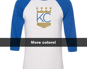 KC Crown Shirt, KC Royals Crown Shirt, 5 Colors, Kansas City Royals Shirt, Kansas City Shirt, KC Baseball Shirts, Kansas City Glitter Shirt