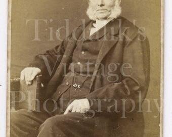 Carte de Visite CDV Photograph Victorian Old Man with Large White Mutton Chops Seated Portrait - Portman Square London - Antique Photograph