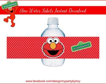 ELMO WATER LABELS Instant Download, Instant Download File, Elmo Party Supply, Elmo Paper Supply, Elmo Party Decor, Sesame Street, Elmo.