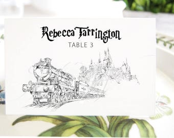 Harry Potter Inspired Hogwarts Train 9 3/4  Place Cards, Fairytale Wedding, Placecards, Escort Cards, Guests Names (Set of 25 Cards)